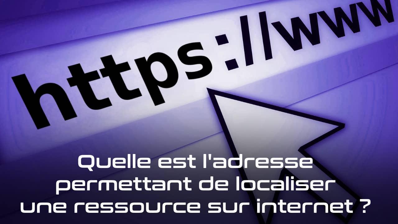 Quelle est l'adresse permettant de localiser une ressource sur internet ?